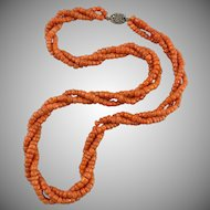 "Antique Chinese 3 Strand Natural Salmon Coral Necklace 25"" 94.6 Grams Heavy"