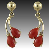 14K Sardinian Red Coral and Diamond Dangle Earrings