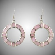 Sterling and Pink Mother of Pearl Dangling Hoop Earrings