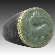 14K Carved Green and Black Jade Dragon Ring
