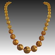 """14K Amber Graduated Bead Necklace 24.5"""" 73.4 grams"""