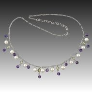 """Sterling Silver Amethyst and Cultured Pearl Festoon Style Necklace 18"""""""