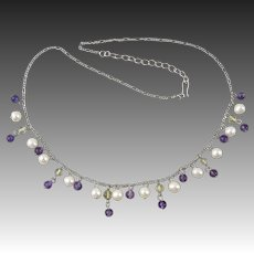 Sterling Silver Amethyst and Cultured Pearl Festoon Style Necklace 18""