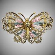 Italian 800 Silver Filigree Butterfly Brooch