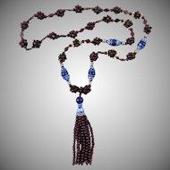 "Garnet and Lapis Tassel Necklace 18K Vermeil Enameled Beads 28.5"""