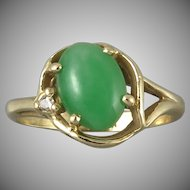 14K Gold Jadeite Jade and Diamond Ring