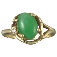 14K Gold Jadeite Jade and Diamond Ring