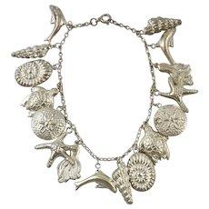 Sea Themed Sterling Silver Chunky Charm Bracelet