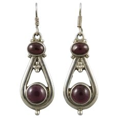 Vintage Garnet and Sterling Dangle Earrings
