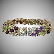 Sparkling Multi Gemstone 3 Row Bracelet 14K Vermeil