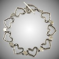 Open Heart Link Sterling Silver Bracelet