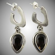 Smoky Quartz and Sterling SIlver Dangle Earrings