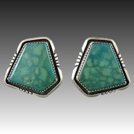 Large Royston Turquoise and Sterling Silver Earrings Signed