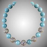"Aquamarine and 18K Vermeil Enamel Filigree Bead Necklace 21.5"""