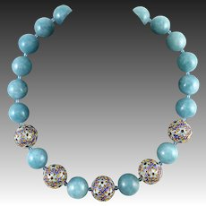 Aquamarine and 18K Vermeil Enamel Filigree Bead Necklace 21.5""