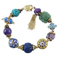 Chinese Carved Gemstone and 18K Vermeil Enamel Treasure Bracelet