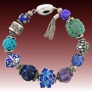 Chinese Carved Gemstone and Sterling Enamel Bead Treasure Bracelet