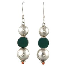 Long Green Onyx and Red Coral Sterling Silver Earrings