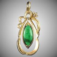 14K Imperial Natural Green Jade Pendant
