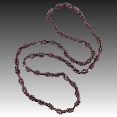 Long Rhodolite Garnet Station Style Necklace 37""
