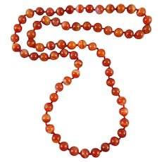 Translucent Banded Carnelian Agate Necklace 32""