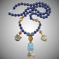 Chinese Silver and Enamel Charm Necklace with Lapis and Carnelian