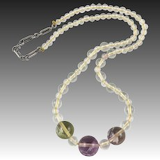 Rock Crystal and Fluorite Bead Necklace 22""