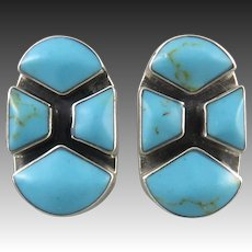 Chunky Turquoise and Sterling Geometric Earrings