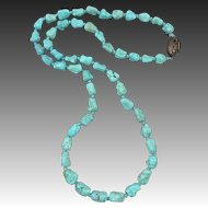 """Chinese Carved Turquoise Knuckle Bead Necklace 25.5"""""""