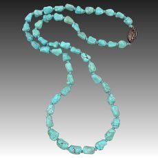 Chinese Carved Turquoise Knuckle Bead Necklace 25.5""