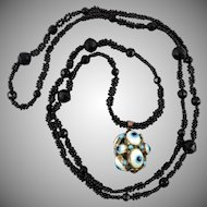 Victorian 9K Evil Eye Pendant and Woven French Jet Necklace 41""