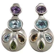 Large Jeweled Triple Doorknocker Style Sterling Silver Topaz Amethyst Citrine Peridot Earrings