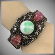 Chinese Export Tourmaline and Jade Gilded Silver Bracelet c1860 Signed