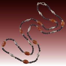 """Carved Carnelian Garnet and Sterling Silver Vintage Necklace 39"""""""