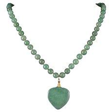 """Green Aventurine Heart Necklace 21"""""""