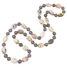 """Pink Peruvian Opal and Gray Chalcedony Necklace 31"""""""