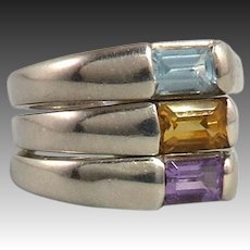 Set of 3 Gemstone and Sterling SIlver Stacking Rings Topaz Amethyst Citrine