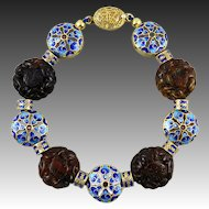 Rare Carved Baltic Amber and 18K Vermeil Enamel Bead Bracelet