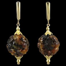 Old Chinese Carved Amber and 14K GF Earrings