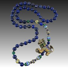 Chinese Enameled Foo Dog with Lapis and 18K Vermeil Enameled Bead Necklace 31""