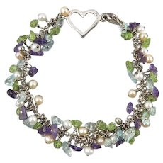 Blue Topaz Peridot Amethyst and Cultured Pearl Sterling Silver Bracelet