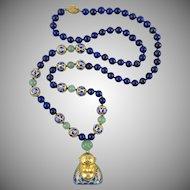 """Chinese Cloisonne Enamel Buddha and Lapis Aventurine Necklace 30"""""""