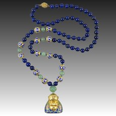 Chinese Cloisonne Enamel Buddha and Lapis Aventurine Necklace 30""