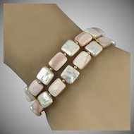 14K Biwa Cultured Square Pearl and Faceted Pink Mother of Pearl 2 Row Bracelet