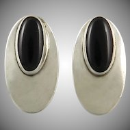Modernist Design Sterling Silver and Black Onyx Elongated Oval Earrings