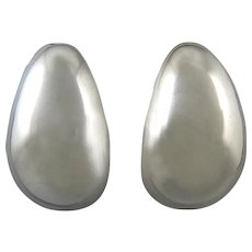 Big Puffy Elongated Oval Sterling Silver Earrings