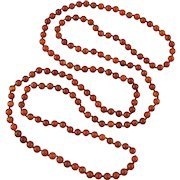 Russet Red Carnelian Agate Bead Long Necklace 60""