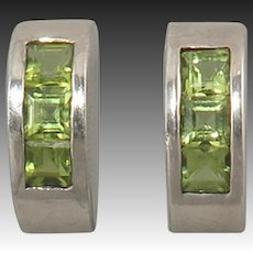 Square Cut Peridot Half Hoop Sterling SIlver Earrings