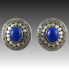 Lapis and Sterling Silver Bali Style Disk Earrings