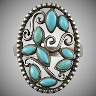 Sterling and Turquoise Swirling Filigree
